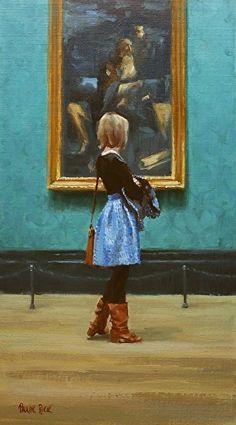 Pauline Roche - Slow Steps in the Gallery. Oil ~ 17 x 9.5