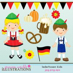 Lederhosen Kids Cute Digital Clipart for Card Design, Scrapbooking, and Web Design. $5.00, via Etsy.