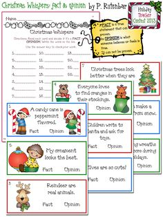 Christmas activity, Christmas school, facts & opinions, Christmas Whispers