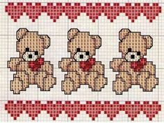 quilting like crazy Cute Cross Stitch, Cross Stitch Borders, Cross Stitch Charts, Cross Stitching, Cross Stitch Embroidery, Disney Cross Stitch Patterns, Baby Sweaters, Baby Knitting Patterns, Teddy Bear