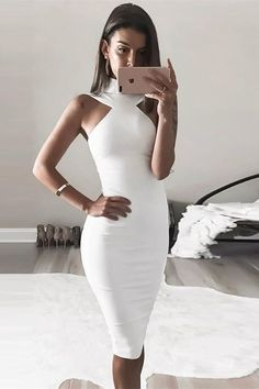 Sheath High Neck Knee-Length White Stretch Satin Homecoming Dress white homecoming dresses, bodycon homecoming dresses, tea length, bodycon dress, cut out dresses Date Night Dresses, Night Outfits, Classy Outfits, Sexy Outfits, Dress Outfits, Evening Dresses, Outfit Night, Work Outfits, Chic Outfits