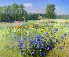 Волошки, колокольчики,лето... / цветы, маки, времена года, лето, живопись, ромашки, волошки