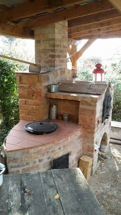 Outdoor Fireplace Patio, Outdoor Kitchen Patio, Outdoor Fireplace Designs, Pizza Oven Outdoor, Outdoor Kitchen Design, Outdoor Living, Outdoor Decor, Outdoor Cooking Area, Brick Bbq