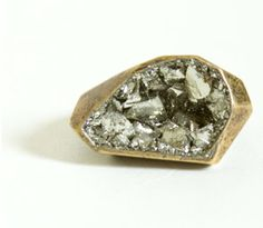geode ring by lady grey; love the rough cut of the stone