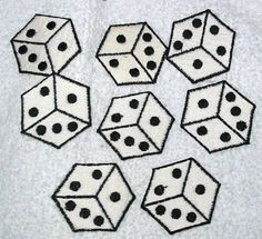 Lot of 8 Vintage Dice Die Patches or APPLIQUES - NOS - Black and White. $6.50, via Etsy.