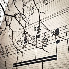 Musical Notes Photograph, Home Decor, Wall Art, Warm tones, Decorating, Music, Trees. $30.00, via Etsy.