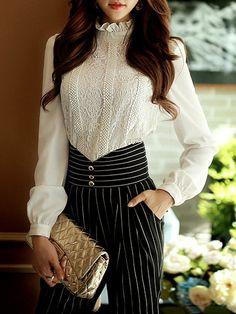Shop Blouses - White Turtleneck Long Sleeve Blouse online. Discover unique…