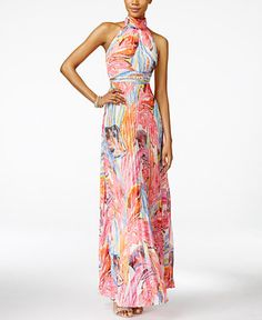 INC International Concepts Printed Pleated Halter Maxi Dress, Only at Macy's - Dresses - Women - Macy's