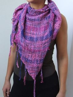 Linen cotton hand dyed handwoven ladies scarf triangle scarf blue purple rose thick and thin OOAK for women all seasons handmade handweaving - pinned by pin4etsy.com