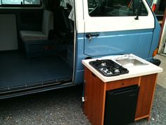Image may have been reduced in size. Click image to view fullscreen. Camper Van Kitchen, Dorm Fridge, Van Car, Camper Interior, Minivan, Camping Stove, Camper Ideas, Vw Camper, Campervan