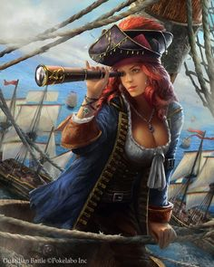 f Wizard Pirate Robes Cloak Hat Spyglass Ship docks coastal city Tower med Fantasy Girl, Fantasy Warrior, Fantasy Women, Pirate Art, Pirate Woman, Pirate Life, Pirate Wench, Fantasy Characters, Female Characters