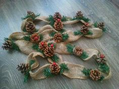 6 foot Burlap Pine cone garland, Rustic Decor, Pine Cone Garland, Burlap garland, wedding g… Burlap Christmas, Primitive Christmas, Christmas Wreaths, Christmas Ornaments, Pine Cone Crafts, Christmas Projects, Holiday Crafts, Pine Cone Decorations, Christmas Tree Decorations