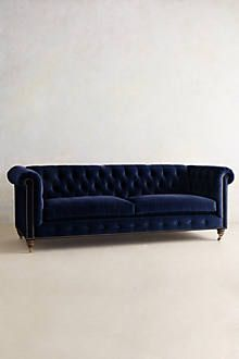 Linen Lyre Chesterfield Sofa, Hickory - anthropologie.com