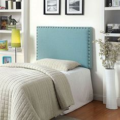 Herstal Contemporary Style Blue Finish Queen Size Flax Fabric Headboard