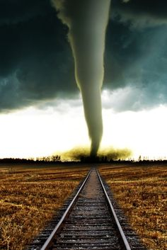 A tornado on the train tracks.