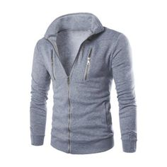 Long Sleeve Stand Collar Zippered Jacket