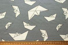 Papierboote grau Jersey Jerseystoff