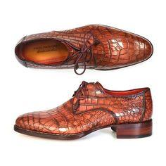 Paul Parkman Genuine Crocodile Goodyear Welted Derby Shoes (ID#44Z87)