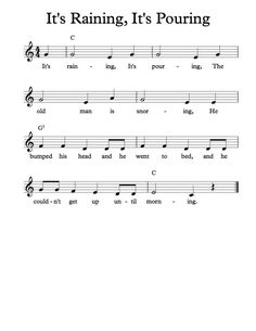 Free Sheet Music - Free Lead Sheet - It's Raining, It's Pouring