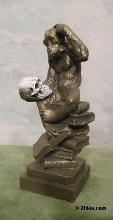 """This small sized Darwin's Ape statue. Sometimes call """"The Smart Monkey"""" or """"Monkey Holding a Skull"""". This smaller piece is the right size for a desk or office shelf. It has so much to say without any words. See our blog on this piece https://plus.google.com/+ZhkisGallery/posts/16Xv7ihNhd2"""