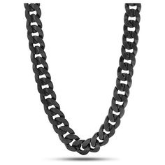 King Ice Black Rhodiium 12mm Cuban Curb Chain ($80) ❤ liked on Polyvore featuring men's fashion, men's jewelry, men's necklaces and all black