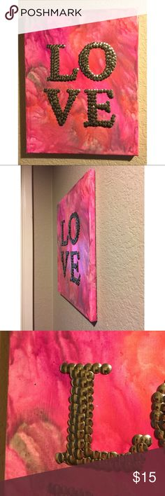"LOVE Stretched Canvas Art Handmade mixed media art made by me. Made with crayons and tacks. Canvas size is 11"" x 14"" Other"