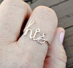 Word Ring, Wire Word Ring Adjustable HIS Non Tarnish Silver Plated Wire on Etsy, $13.00