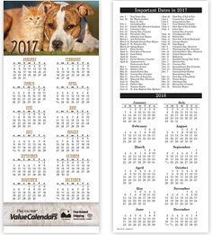 """6U601 - 2017 Cats & Dogs 2-Sided Card Calendar 