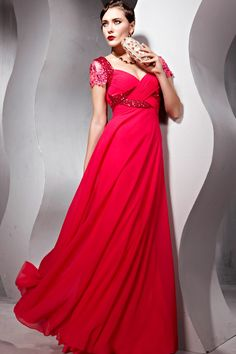 Coniefox Wholeale Dresses Red Criss-cross Short Sleeves Party Dresses No.56828 - Gorgeous!
