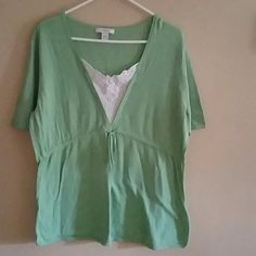 Dressbarn Size 18/20 Tunic Pastel Green V Neck Tie In The Middle With White Embroidery At Neck Lightweight Used Rarely Dress Barn Tops Tunics