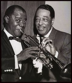 """Many famous jazz greats of the Harlem Renaissance worked together to create music. Louis Armstrong and Duke Ellington created the album titled, """"The Great Summit. Louis Armstrong, Jazz Artists, Jazz Musicians, Music Artists, Famous Artists, Blues Rock, Smooth Jazz, Music Is Life, My Music"""