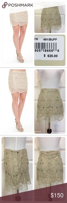 NWT! Haute Hippie lace jeweled skirt New with tags!  Haute Hippie lace and jeweled mini skirt in buff. Side zipper. Haute Hippie Skirts