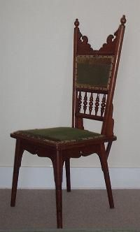 WALNUT AESTHETIC MOVEMENT CHAIR    Very rare and unusual Aesthetic Movement chair in walnut, designed by Christopher Dresser.    Height 1.170, Width 0.450, Depth 0.500    Price SOLD (W113)