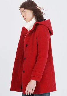 Red Plain Collar With Hat Wool Coat