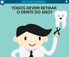 """MITO! Nem sempre o dente do siso é sinônimo de problema. Se ele estiver em uma posição que possa ser higienizado facilmente, se ele consegue tocar o dente superior a ponto de ajudar na mastigação e se estiver livre de infecções, pode e deve ser mantido. """"Mas se um desses fatores apresentar problema, a remoção deve ser realizada"""", diz o especialista. Fonte: Portal Terra #mito #verdade #siso #dente #odonto #odontologia #dor #coragem #dentista"""
