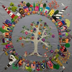 Peace Quilt by Hettie's Patch ......... #Handmade #Craft #Vintage #Embroider #DIY #EcoFriendly #Create #Crochet #Yarn #Quilt #UPcycle #Recycle #Hobby Wool Quilts, Mini Quilts, Wool Applique Quilts, Art Du Collage, Quilt Modernen, Wool Embroidery, Embroidery Stitches, Embroidery Patterns, Ribbon Embroidery