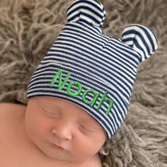 84b04691e3c6a Navy Blue and White Striped Personalized Baby Bear Newborn Boy Hospital Hat