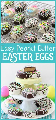 Easy recipe for Peanut Butter Easter Eggs with a soft, sweet filling! Butter With A Side of Bread via /ButterGirls/ Easter treats PEANUT BUTTER EASTER EGGS - Butter with a Side of Bread Recipe For Peanut Butter Easter Eggs, Peanut Butter Recipes, Sugar Eggs For Easter, Easter Egg Cake, Easter Candy, Easter Treats, Easter Food, Easter Snacks, Easter Stuff