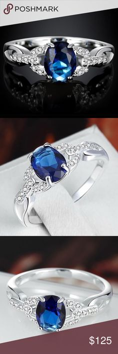 Tanzanite  ring Adorable tanzanite ring with tiny diamonds ( lab made stones). 925 ss Jewelry Rings