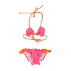 Traje de baño EPK para niña estilo bikini rosado y anaranjado neon.