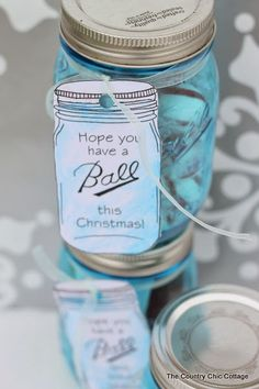 """Ball Mason Jar Labels for EVERYONE on your gift giving list -- free printable labels!  A huge list of free printable gift labels for """"Ball"""" jars for every holiday.  Includes neighbors, mom, dad, aunt, uncle, plus many many more!  Must click over to print and see all of the options!"""
