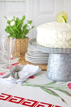 Key Lime Cake!  A must for hot summer weather! recipe from The Lettered Cottage.