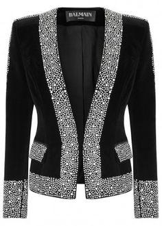 THE LUXURY EDIT - Black crystal-embellished velvet jacket Source by carolinejaglass - Blazer Fashion, Hijab Fashion, Fashion Outfits, Womens Fashion, Fashion Trends, Look Blazer, Blazer Dress, Velvet Jacket, Dressy Dresses