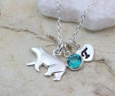 Presonalized sterling silver polar bear Necklace by BleshJewelry