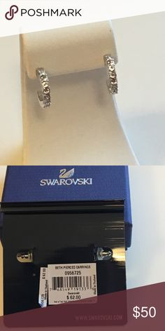 Authentic Swarovski Earrings Swarovski Beth Pierced Hoop Earrings on posts. Swarovski Jewelry Earrings
