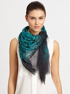 Peacock scarf - oblong