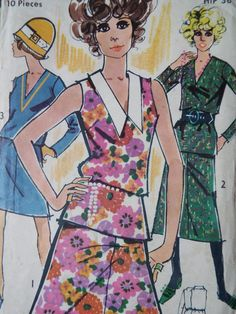 Vintage 1970s Maudella top and skirt sewing pattern  Top can be made as V neck jumper with long sleeves or sleeveless with a fab feature collar and