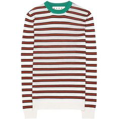 Marni Striped Cashmere Sweater (12.948.585 IDR) ❤ liked on Polyvore featuring tops, sweaters, no, cashmere top, striped top, stripe sweaters, marni sweater and white top