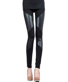 Stylish PU Leather Splicing Elasticity Black Leggings For Women