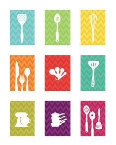 Chevron Kitchen Art Prints - Colorful Chevron- 5X7 Inches, Gift for cooks, Kitchen Art. $48.00, via Etsy.
